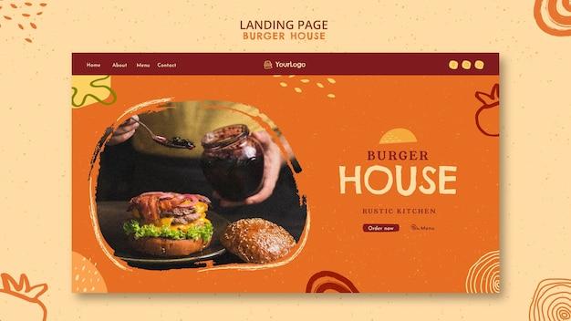 Modelo de página inicial de hambúrguer