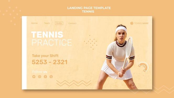 Modelo de página inicial de prática de tênis