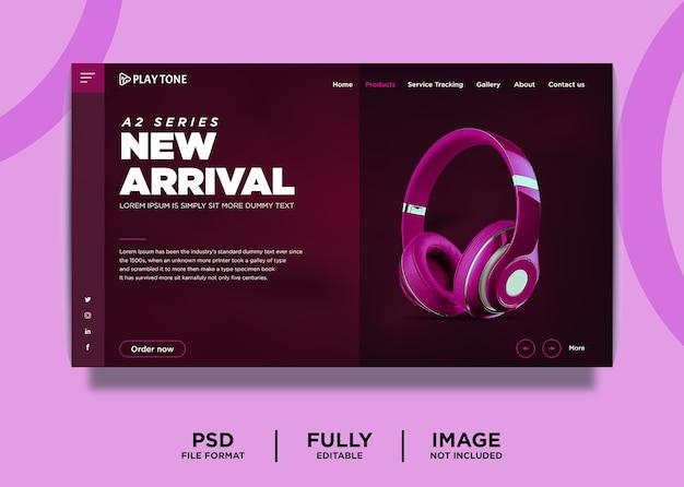 Modelo de página inicial de produto de marca de fone de ouvido