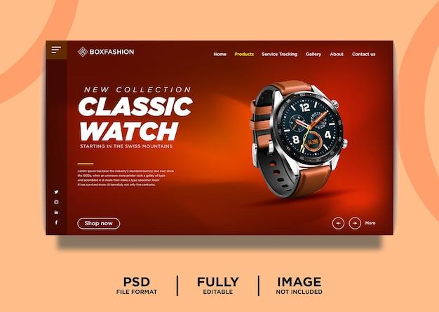 Modelo de página inicial de produto de marca de relógio clássico