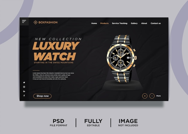 Modelo de página inicial de produto de marca de relógio de luxo