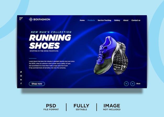 Modelo de página inicial de produto de marca de tênis de corrida Psd Premium