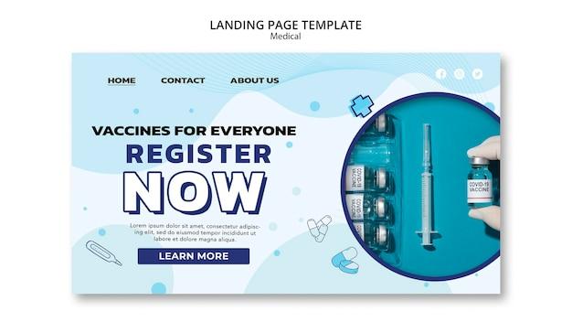 Modelo de página inicial de registro de vacina