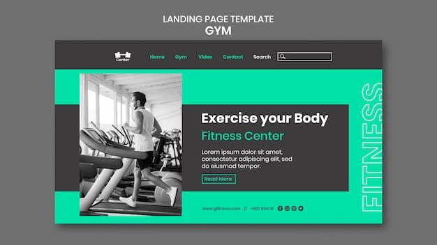 Modelo de página inicial de treino de ginásio
