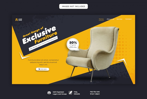 Modelo de página inicial de venda de móveis exclusivos