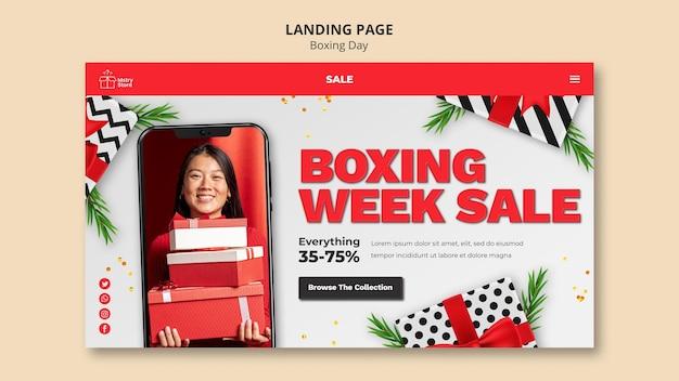 Modelo de página inicial de vendas do boxing day