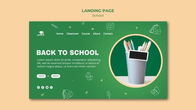 Modelo de página inicial de volta à escola