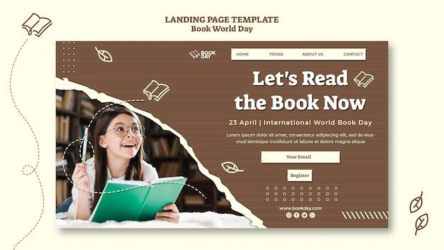 Modelo de página inicial do dia mundial do livro Psd Premium