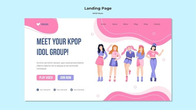 Modelo de página inicial k-pop