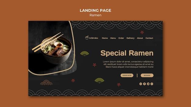 Modelo de página laning de conceito de ramen