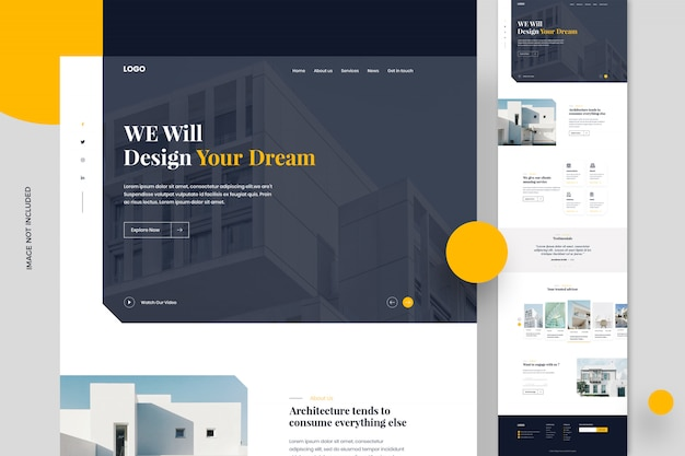 Modelo de página ou design de site de imóveis