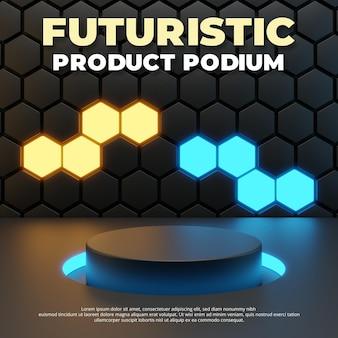 Modelo de palco de pódio futurista, renderização em 3d