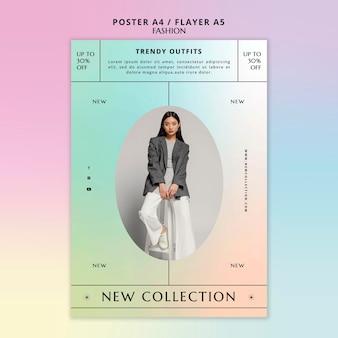Modelo de panfleto com roupas da moda