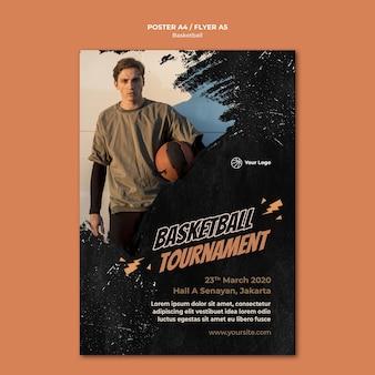 Modelo de panfleto de basquete com foto