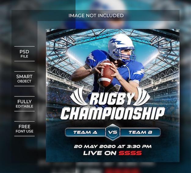Modelo de panfleto de campeonato de rugby ou post de mídia social