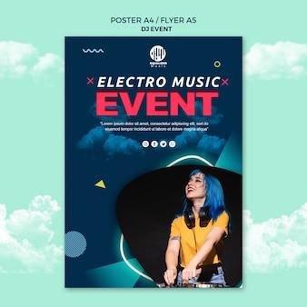 Modelo de panfleto de cartaz de conceito de festa de música