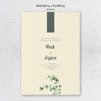 Modelo de panfleto de casamento minimalista