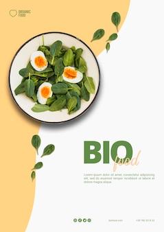 Modelo de panfleto de comida bio com foto
