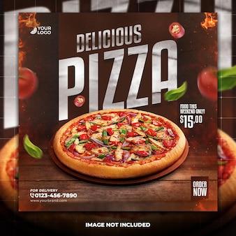 Modelo de panfleto de comida com tema de pizza