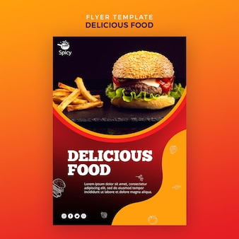 Modelo de panfleto de comida deliciosa