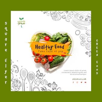 Modelo de panfleto de comida saudável com foto