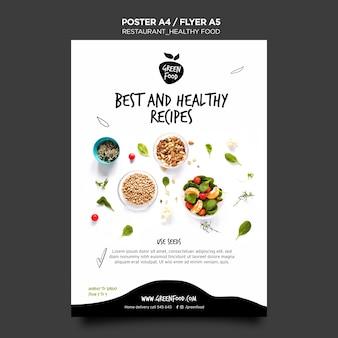 Modelo de panfleto de comida saudável
