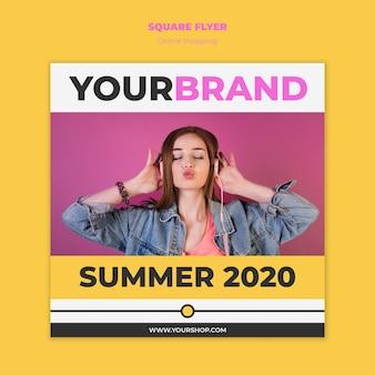 Modelo de panfleto de compras on-line de verão