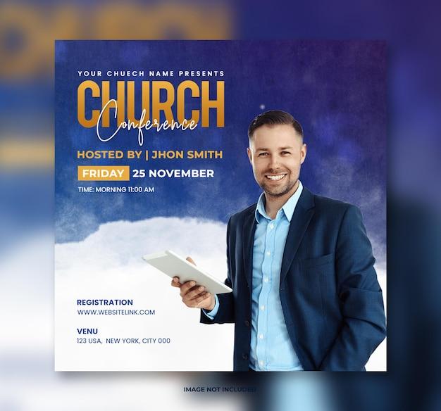 Modelo de panfleto de conferência ao vivo da igreja ore pela postagem na mídia social mundial e banner na web
