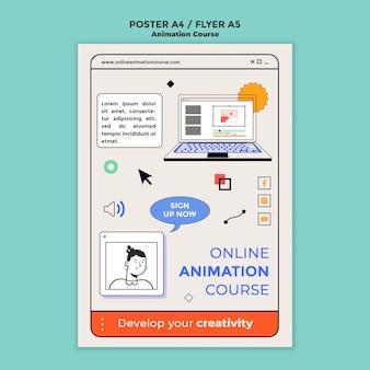 Modelo de panfleto de curso de animação online
