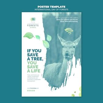Modelo de panfleto de dia de florestas criativas Psd grátis