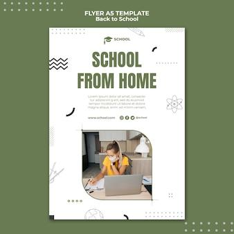 Modelo de panfleto de escola de casa