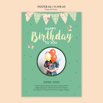 Modelo de panfleto de festa de aniversário com foto