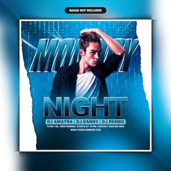 Modelo de panfleto de festa de clube noturno nas segundas-feiras