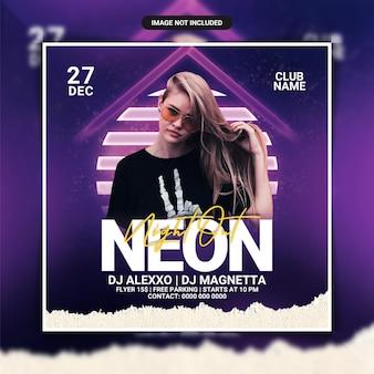 Modelo de panfleto de festa de dj de néon à noite