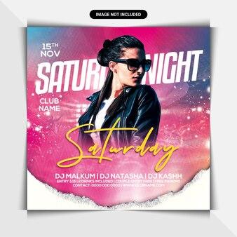 Modelo de panfleto de festa de sábado à noite