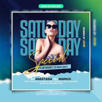 Modelo de panfleto de festa especial de dj para sábado