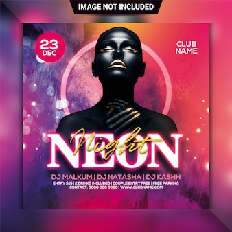 Modelo de panfleto de festa neon night