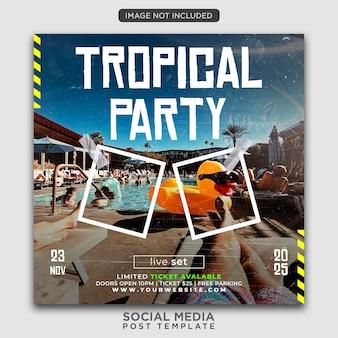 Modelo de panfleto de festa ou postagem em mídia social