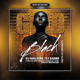 Modelo de panfleto de festa ouro preto
