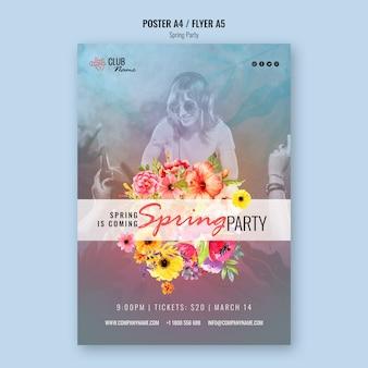Modelo de panfleto de festa primavera com foto