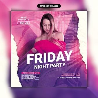 Modelo de panfleto de festa sexta à noite