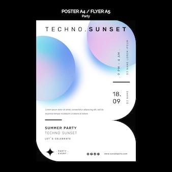 Modelo de panfleto de festa techno de verão
