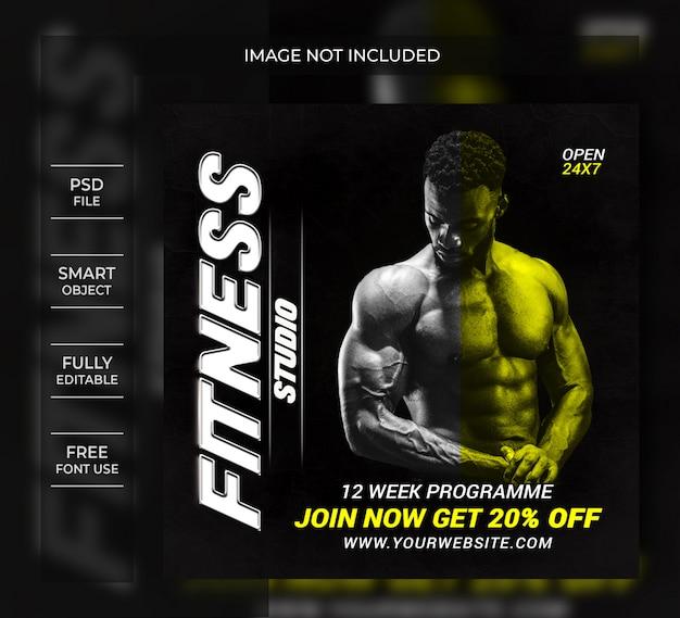 Modelo de panfleto de fitness ou post de mídia social