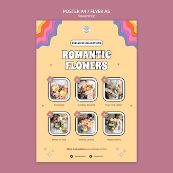 Modelo de panfleto de flores românticas