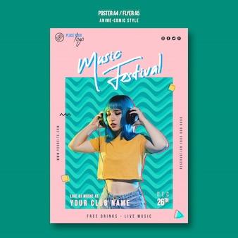 Modelo de panfleto de garota de estilo anime-comic com cabelo azul