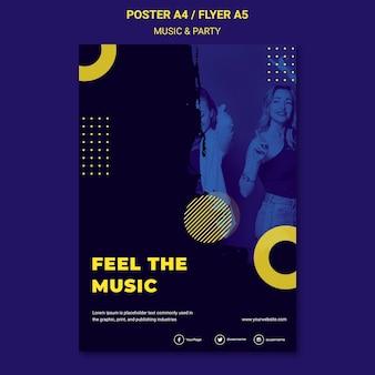 Modelo de panfleto de música e festa