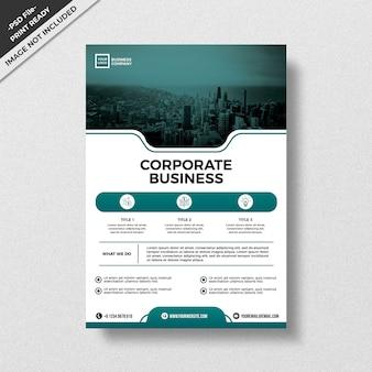 Modelo de panfleto de negócios corporativos de design de estilo moderno verde