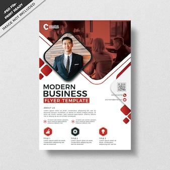 Modelo de panfleto de negócios de design de estilo moderno vermelho