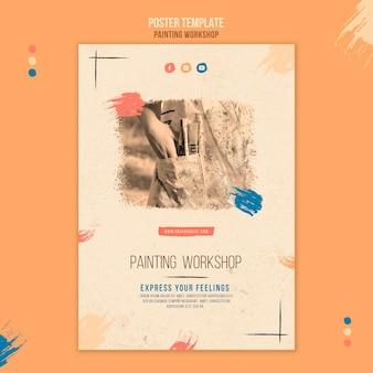 Modelo de panfleto de oficina de pintura com foto
