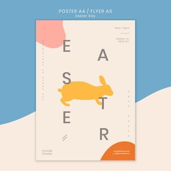 Modelo de panfleto de páscoa com coelho